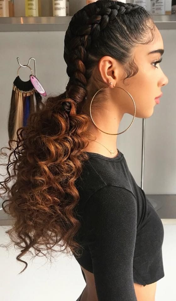 Stylish two dutch braids to curly ponytails curly girl hairstyles Braid Hairstyles For Medium Curly Hair Choices