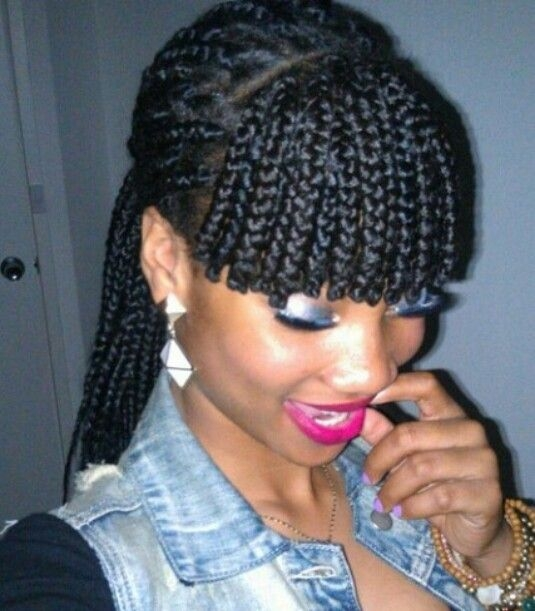Trend i love this box braid with fringe hair styles braided African American Braids With Bangs Designs