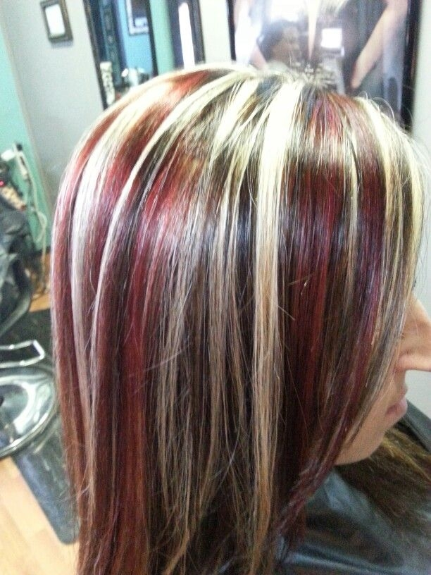 Trend red blonde and black hair color highlights all about you Short Black Hair With Blonde And Red Highlights Choices
