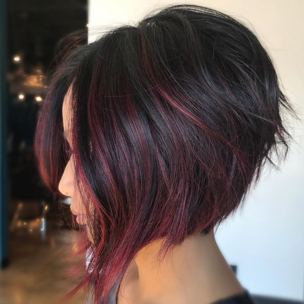 Trend rich wine colored balayage behindthechair hair Color On Short Hair Styles Ideas