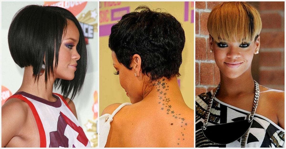 Trend rihannas short hairstyles front and back view legitng Rihanna Short Hair Styles Inspirations