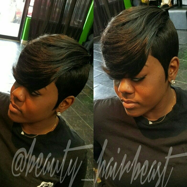 Trend short hair raxorcut bangs layers quick weave hairstyles African American Short Quick Weave Hairstyles Ideas