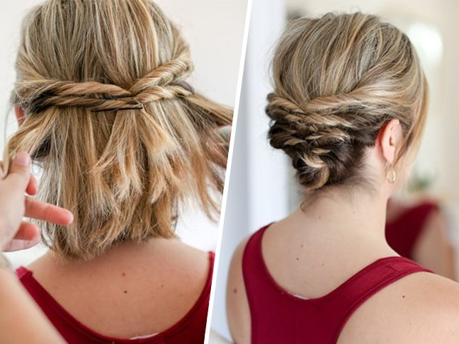 Trend this quick messy updo for short hair is so cool short hair Short Hair With Fringe Updos Inspirations