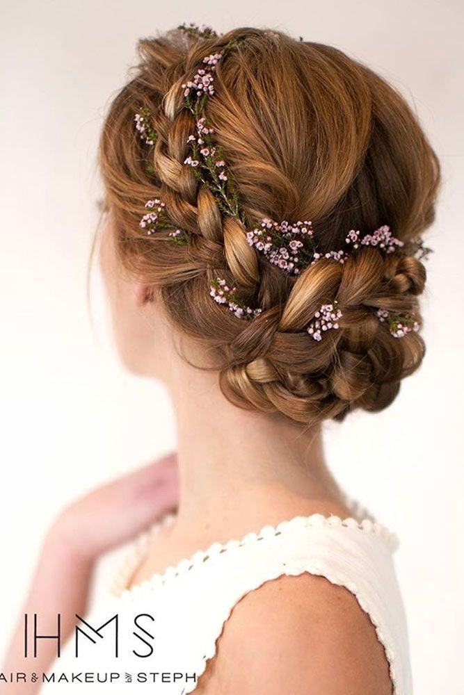 updo with braided flowers prom hair hairstyle flower Wedding Prom Hairstyle For Long Hair Updo Tutorial With Braided Flowers Inspirations