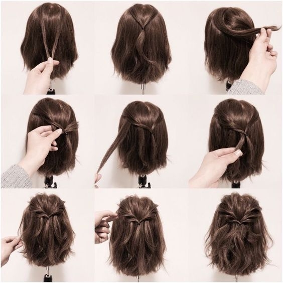 use a few strands to make a really pretty twisted look Easy Half Up Half Down Hairstyles For Short Hair Inspirations