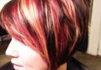 Awesome fall hair color red blonde and dark brown hair makeup Short Black Hair With Blonde And Red Highlights Inspirations