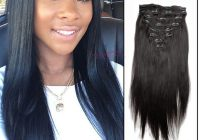 Awesome natural color straight clip in brazilian human virgin hair Hair Extension Styles For African American Hair