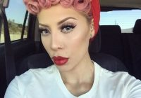 Awesome pin curls for short hair pastel pink poodle styles Pin Up Style For Short Hair Ideas