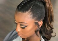 Cozy sleek and stylish braid into a ponytail sleek ponytail African American Hairstyles Ponytails Designs