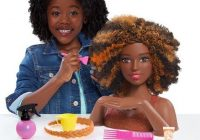 Elegant 2018 barbie color style deluxe styling head black hair African American Hair Styling Doll Head Designs
