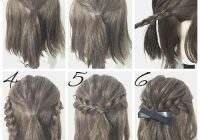 Elegant first create a half ponytail then create two braids and Easy Braided Hairdos For Short Hair Inspirations