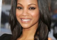 Elegant stylish layered shoulder length hairstyle with blunt bangs Shoulder Length Hairstyles For African American Women