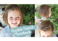 Fresh double french twistback short hair cute girls hairstyles Hair Styles For Kids With Short Hair Ideas