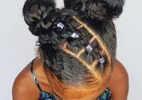 Stylish buns with pull through braids hairstyle for curly little African American Hairstyles I Can Do At Home Ideas