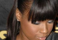 Stylish ponytail with side bangs african american black ponytail African American Ponytail Hairstyles With Bangs Designs