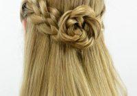 Trend 5 strand pullback flower braid rosette flower braids Rosette Flower Braid Hairstyle For Medium Long Hair Tutorial Ideas