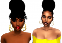 Trend bun with curly bangscurly bun without bangs sims hair Sims 4 African American Hairstyles Ideas