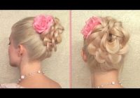 Trend easy prom wedding hairstyle braided flower updo for long hair tutorial Wedding Prom Hairstyle For Long Hair Updo Tutorial With Braided Flowers Ideas